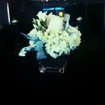 White Centerpiece in square vase.